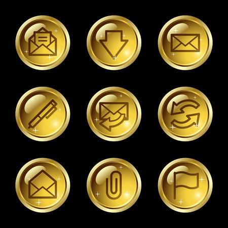 E-mail web icons, gold glossy buttons series Stock Vector - 4155432