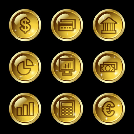 Finance web icons, gold glossy buttons series Vector