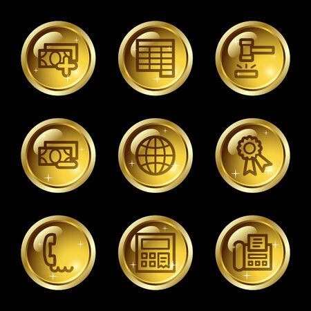 Finance web icons, gold glossy buttons series set 2 Vector