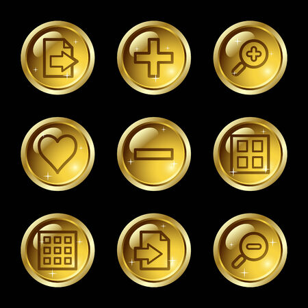 Image viewer web icons, gold glossy buttons series Stock Vector - 4155434