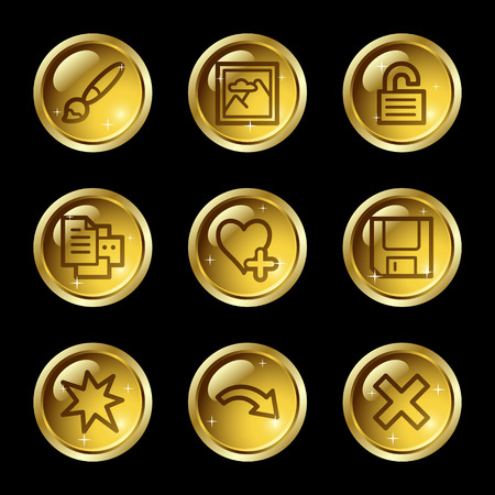 Image viewer web icons, gold glossy buttons series set 2 Stock Vector - 4155439