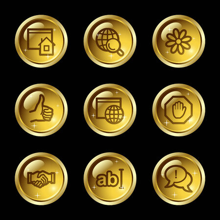 icq: Internet communication web icons, gold glossy buttons series