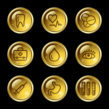 Medicine web icons, gold glossy buttons series Stock Vector - 4155472