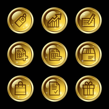Shopping web icons, gold glossy buttons series Vector