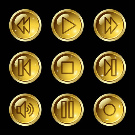 Walkman web icons, gold glossy buttons series