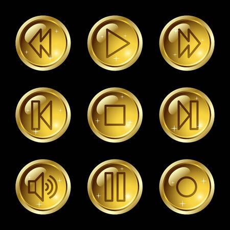 Web icons Walkman, botones de oro brillante de la serie
