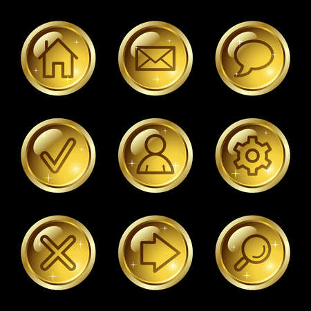 configuration: Basic web icons, gold glossy buttons series