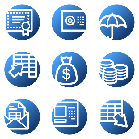 Banking web icons, blue circle series Vector
