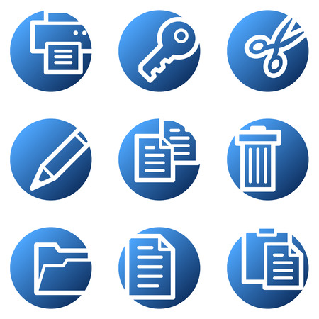 Document web icons, blue circle series Vector