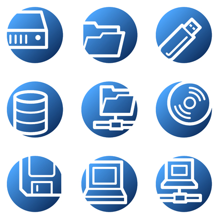 fdd: Drives and storage web icons, blue circle series Illustration