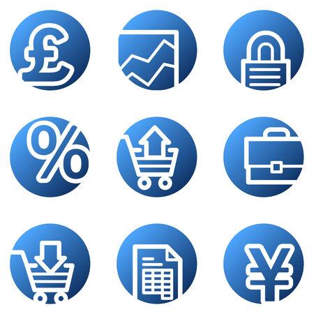 cash crop: E-business web icons, blue circle series