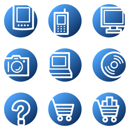 shopping questions: Electronics web icons, blue circle series