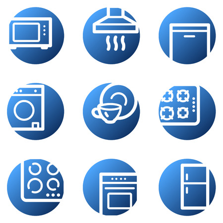 Home appliances web icons, blue circle series Vector