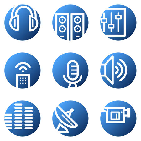 Media web icons, blue circle series Vector