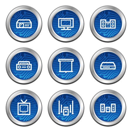 Audio video web icons, blue electronics buttons series Vector