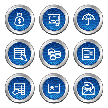 Banking web icons, blue electronics buttons series Vector