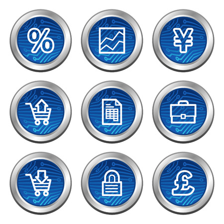 Business web icons, blue electronics buttons series Vector