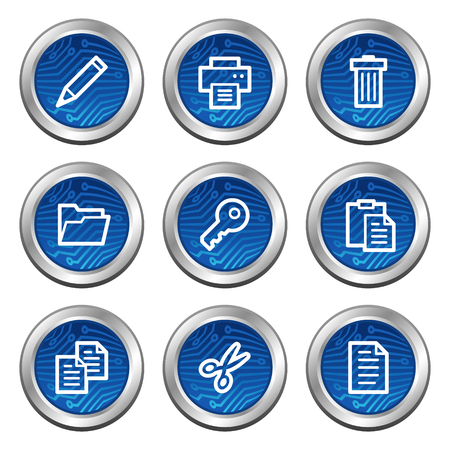 Document web icons, blue electronics buttons series Vector