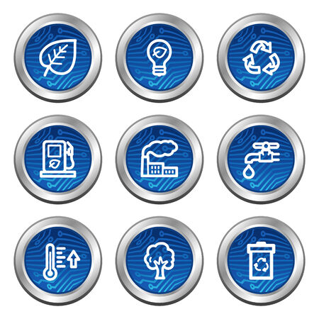 Ecology web icons, blue electronics buttons series Vector