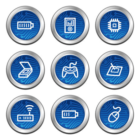 Electronics web icons, blue electronics buttons series set 2 Vector