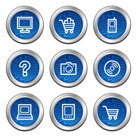 Electronics web icons, blue electronics buttons series Stock Vector - 4222372