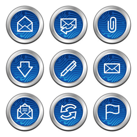 E-mail web icons, blue electronics buttons series Stock Vector - 4222366