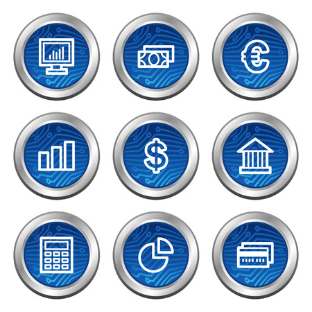 Finance web icons, blue electronics buttons series Vector