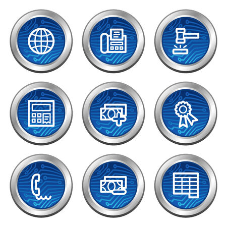Finance web icons, blue electronics buttons series set 2 Vector