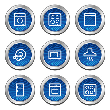 Home appliances web icons, blue electronics buttons series Vector