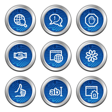 icq: Internet communication web icons, blue electronics buttons series Illustration