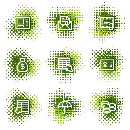 protecting: Banking web icons, green dots series