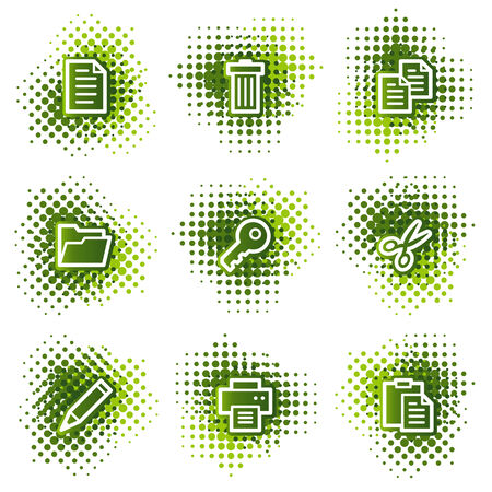 Document web icons, green dots series Vector