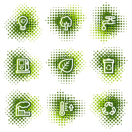 Ecology web icons, green dots series Vector