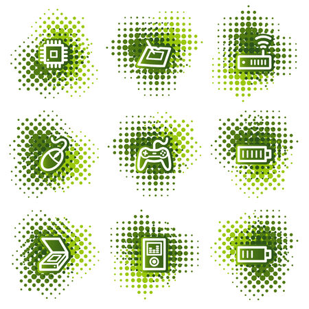 Electronics web icons, green dots series set 2 Vector