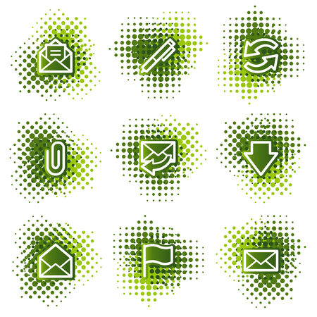 E-mail web icons, green dots series Vector