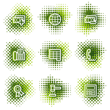 Finance web icons, green dots series set 2 Vector