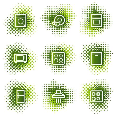 home appliances: Electrodom�sticos web iconos, puntos verdes serie