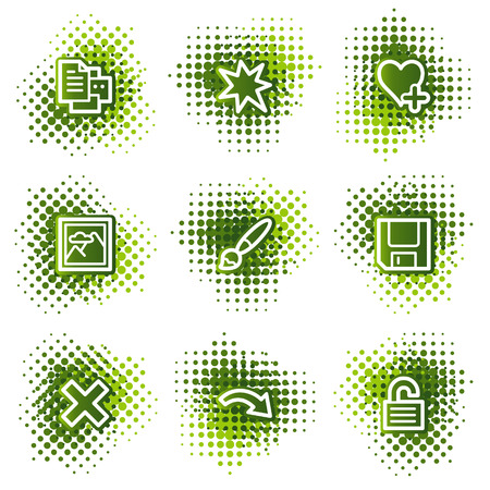 and viewer: Image viewer web icons, green dots series set 2