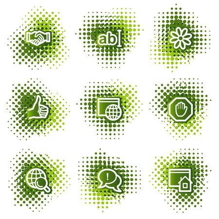 Internet web icons, green dots series
