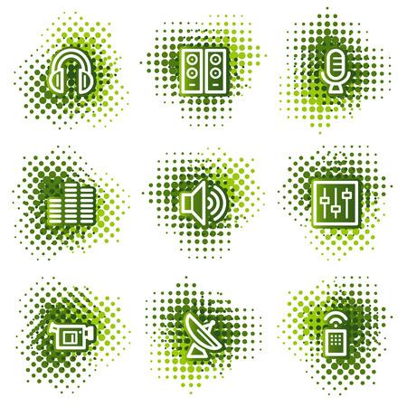 Media web icons, green dots series Vector