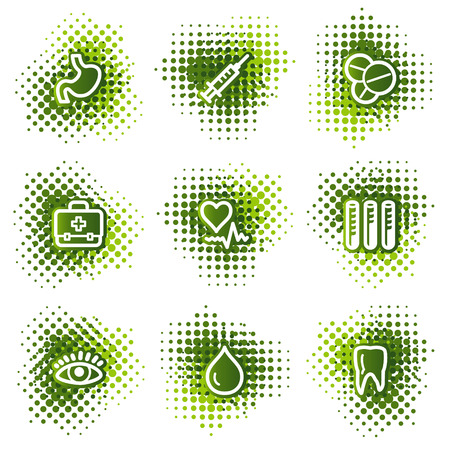 Medicine web icons, green dots series Stock Vector - 4345225