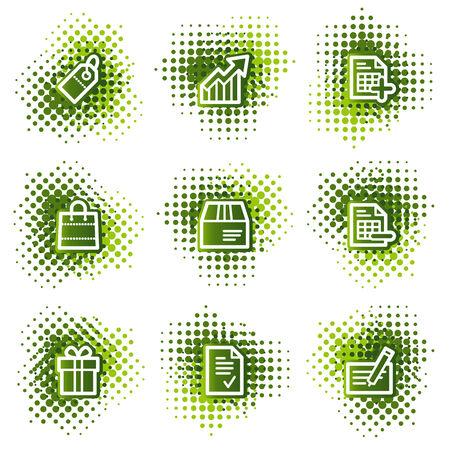 Shopping web icons, green dots series Vector