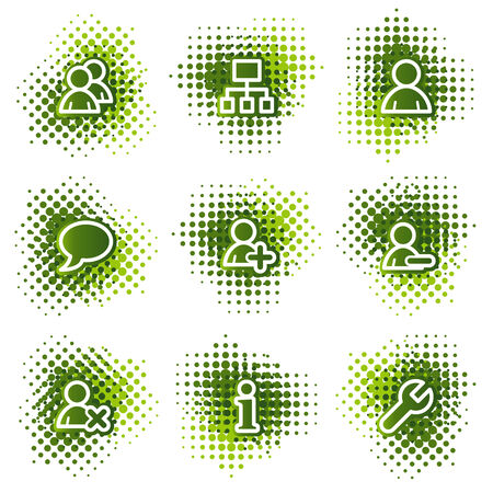 Users web icons, green dots series Vector