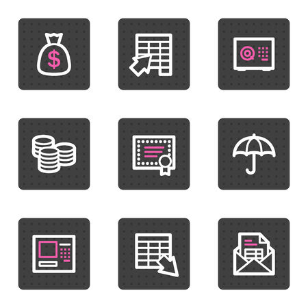Banking video web icons, grey square buttons series Vector