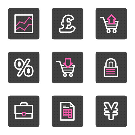 Business web icons, grey square buttons series Vector