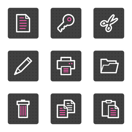 Document web icons, grey square buttons series Vector