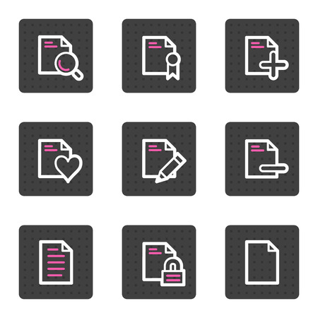 Document web icons, grey square buttons series set 2 Vector