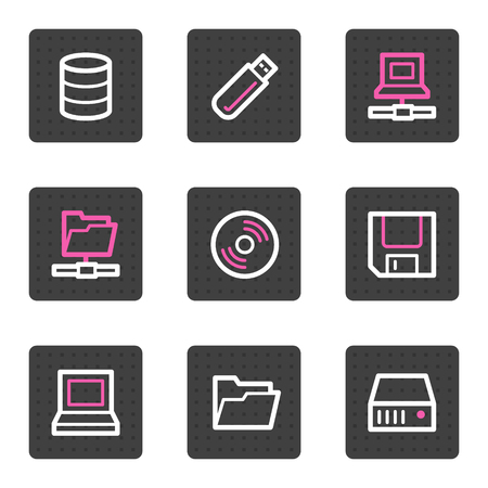 fdd: Drives and storage web icons, grey square buttons series