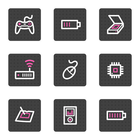 Electronics web icons, grey square buttons series set 2 Vector