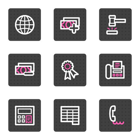 Finance web icons, grey square buttons series set 2 Vector